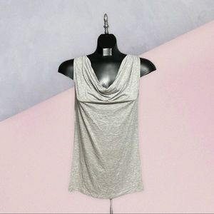 NWOT ESPRIT Gray/Silver Cowl Neck Sleeveless Top L